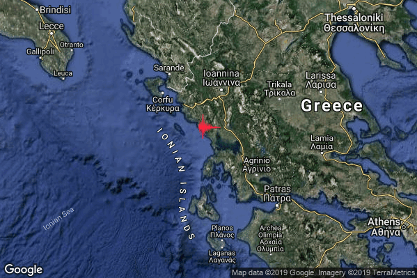 Severo Terremoto M5.2 epicentro Greece [Sea] alle 03:26:10 (02:26:10 UTC)
