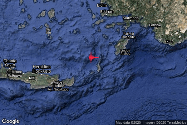 Forte Terremoto M5.1 epicentro Crete Greece [Sea: Greece] alle 17:02:17 (16:02:17 UTC)