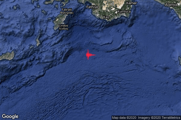 Severo Terremoto M5.2 epicentro Greece [Sea] alle 07:20:04 (05:20:04 UTC)